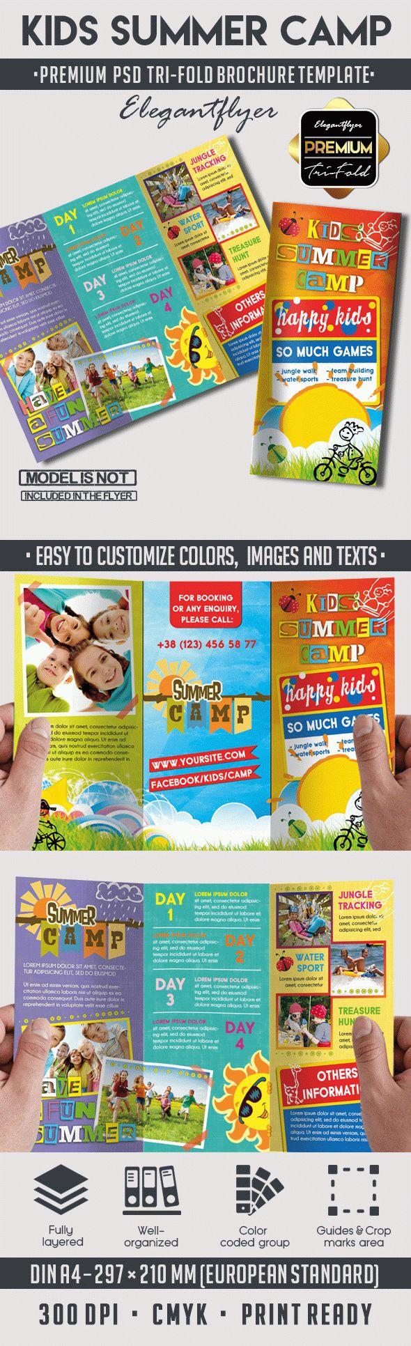Tri fold brochure kids summer camp by elegantflyer for Free brochure templates for kids