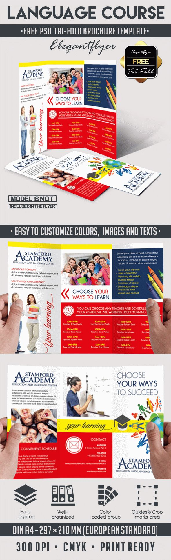 Languages Course – Free Tri-Fold PSD Brochure Template