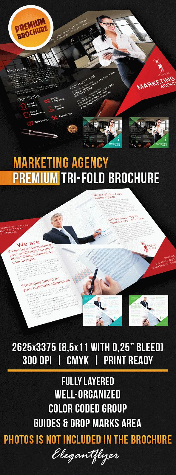Marketing Agency – Tri-Fold Brochure PSD Template