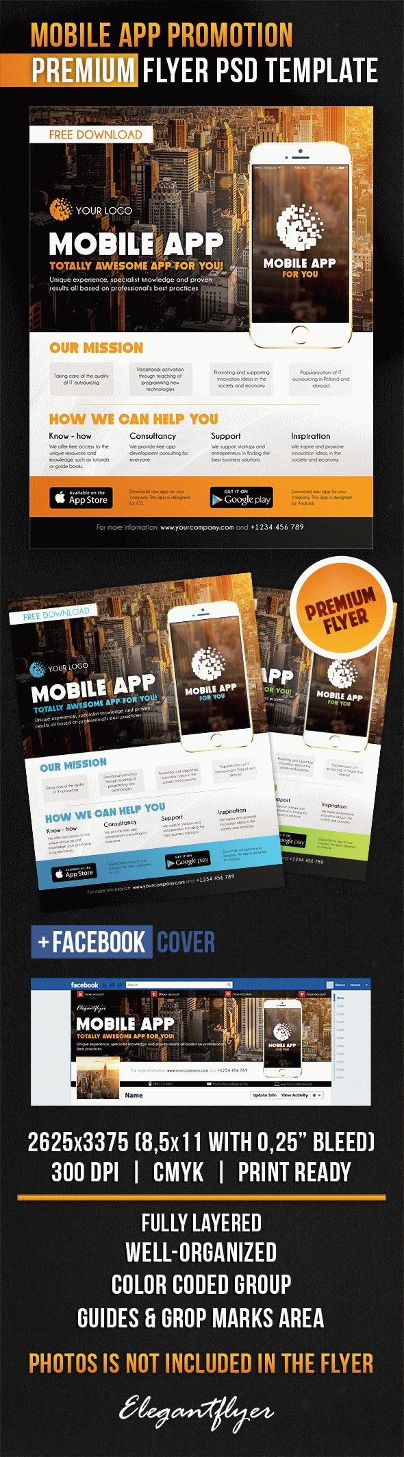 Mobile app promotion flyer psd template by elegantflyer for Facebook app template psd