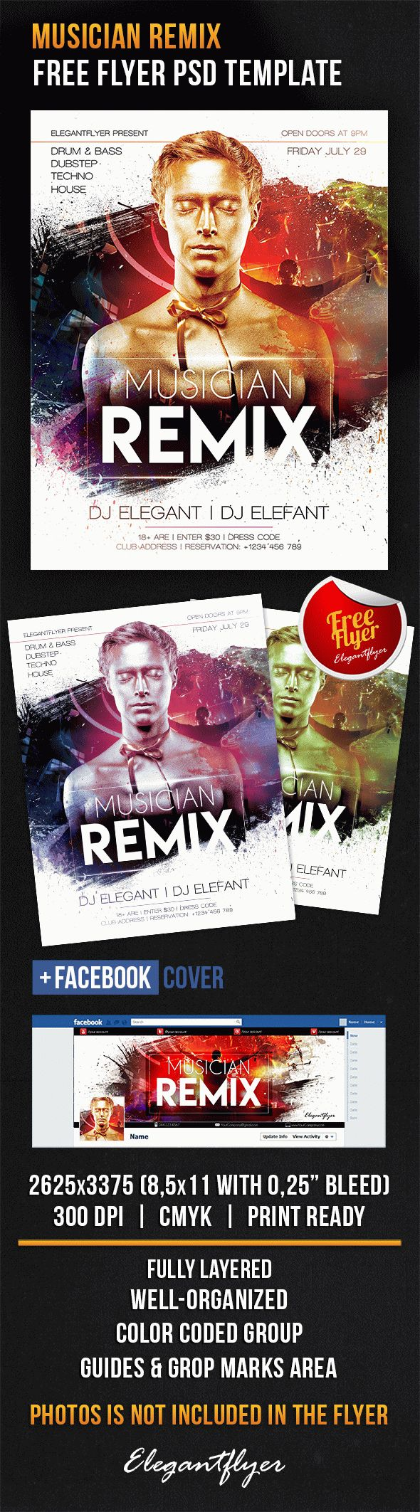 Musician Remix – Free Flyer PSD Template + Facebook Cover