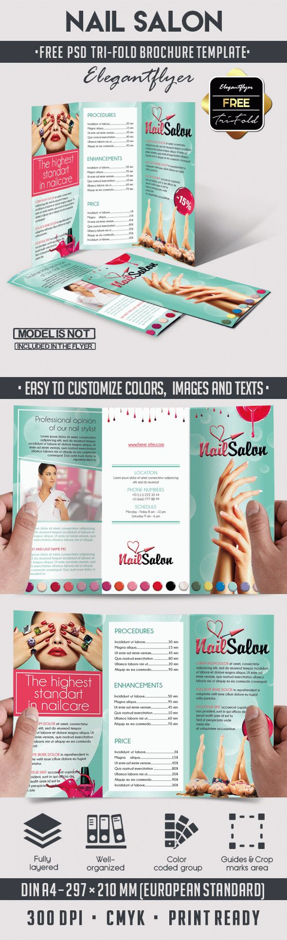 Nail free tri fold psd brochure template by elegantflyer for Free psd brochure template