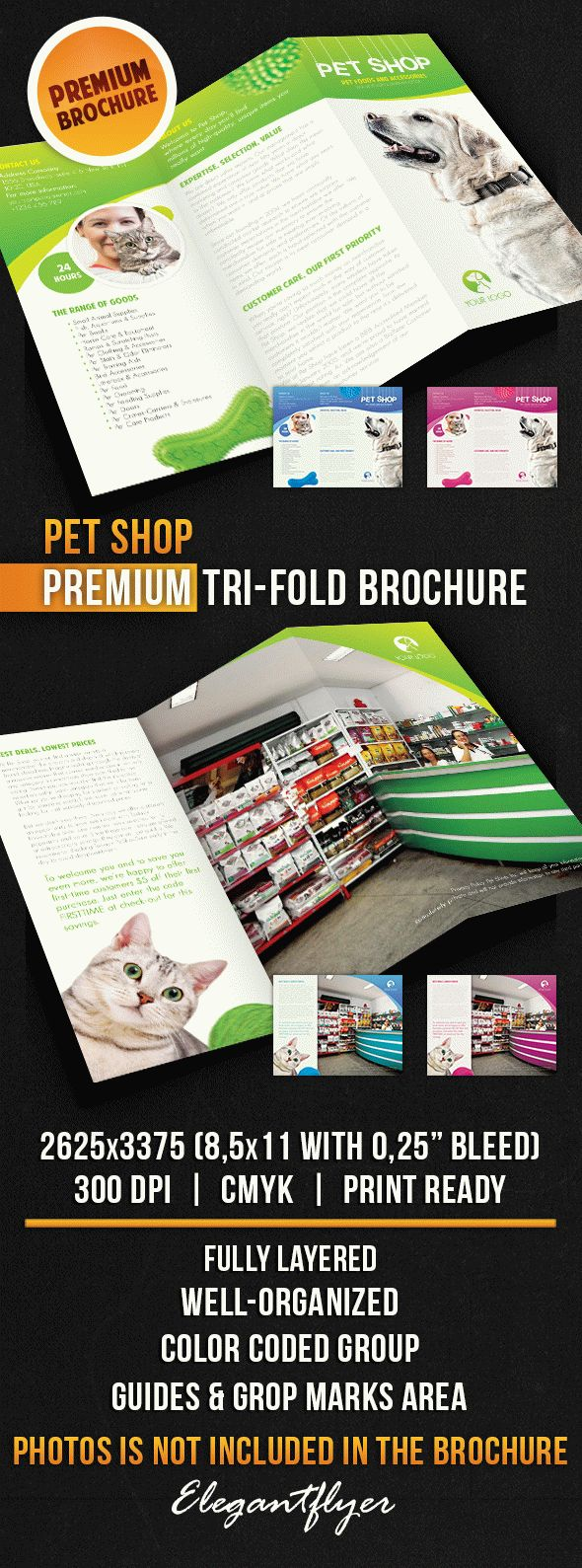 Pet Shop – Tri-Fold Brochure PSD Template