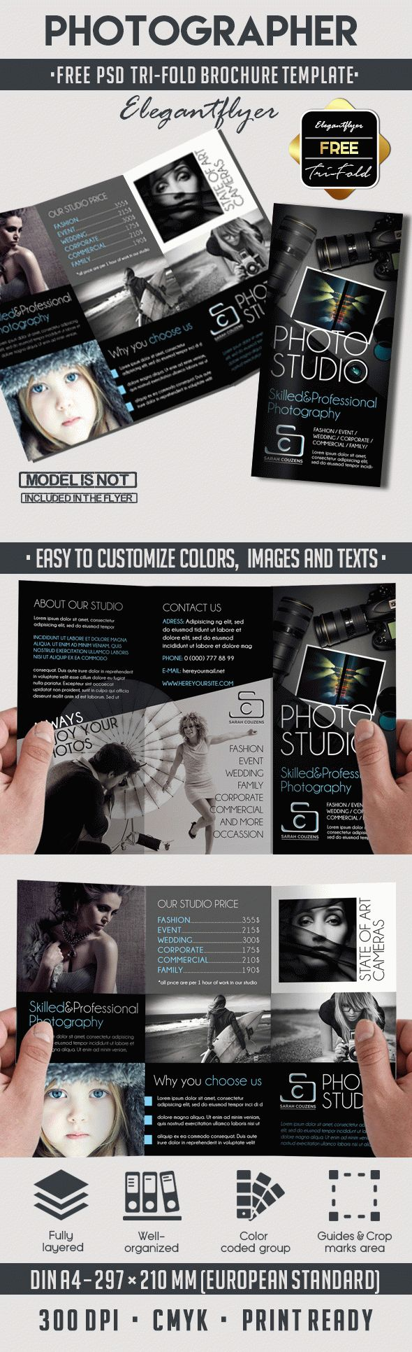 Photographer – Free Tri-Fold PSD Brochure Template