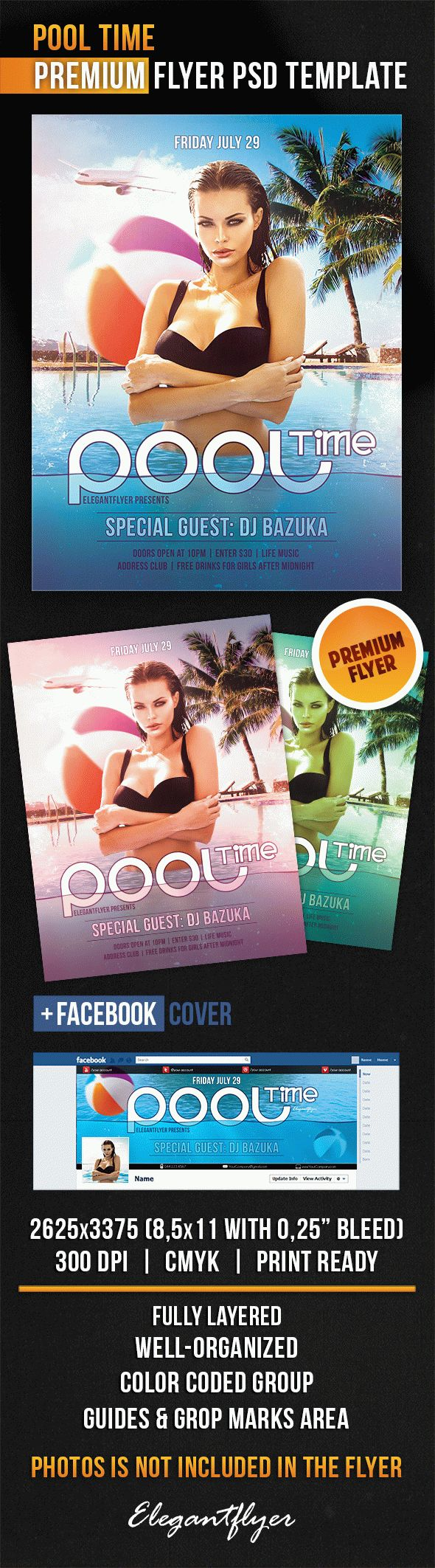 Pool Time – Flyer PSD Template + Facebook Cover