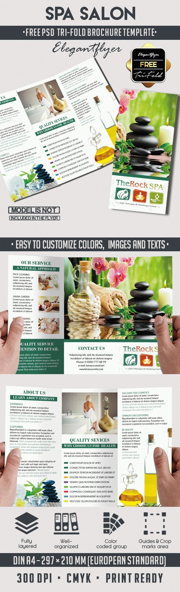free brochure templates psd download - spa free psd tri fold psd brochure template by elegantflyer