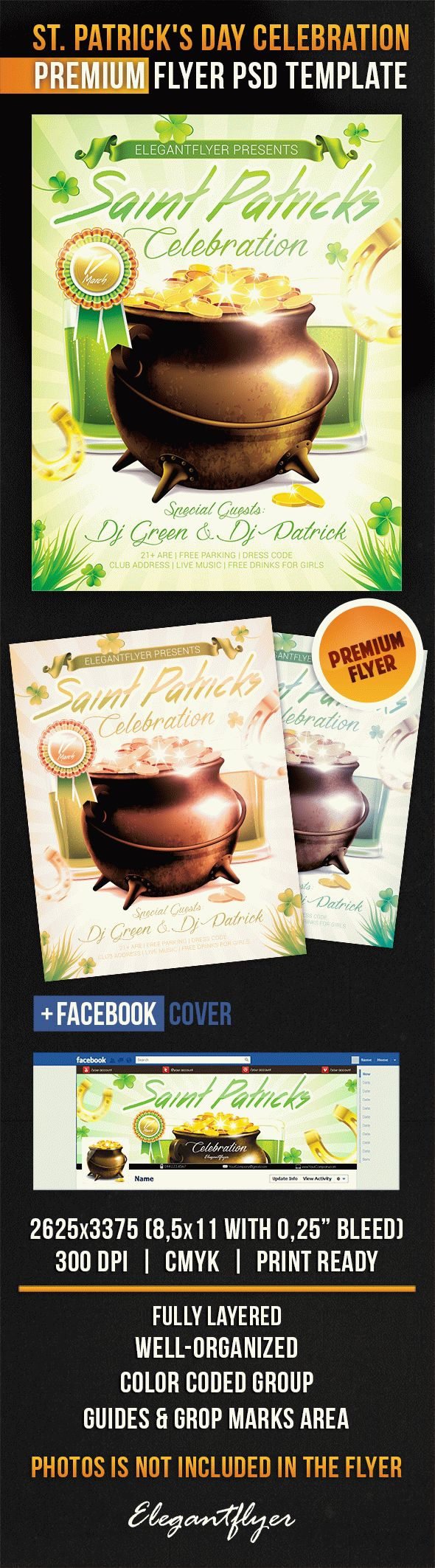St. Patrick's Day Celebration – Flyer PSD Template + Facebook Cover
