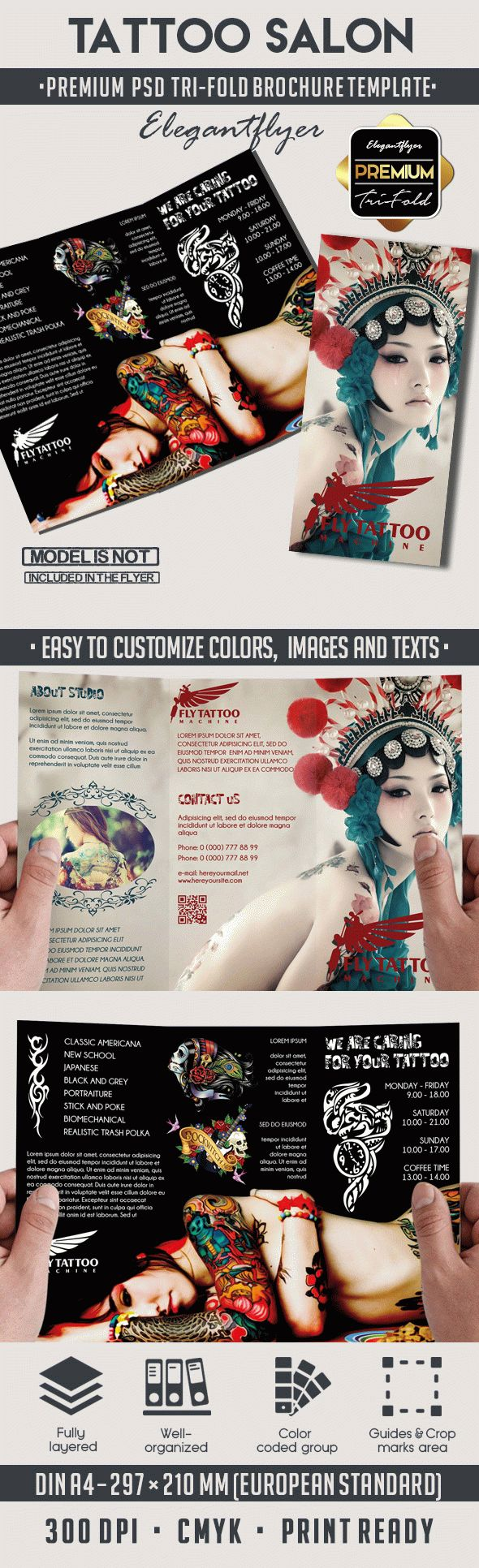 Tattoo Salon Premium Tri-Fold PSD Brochure Template