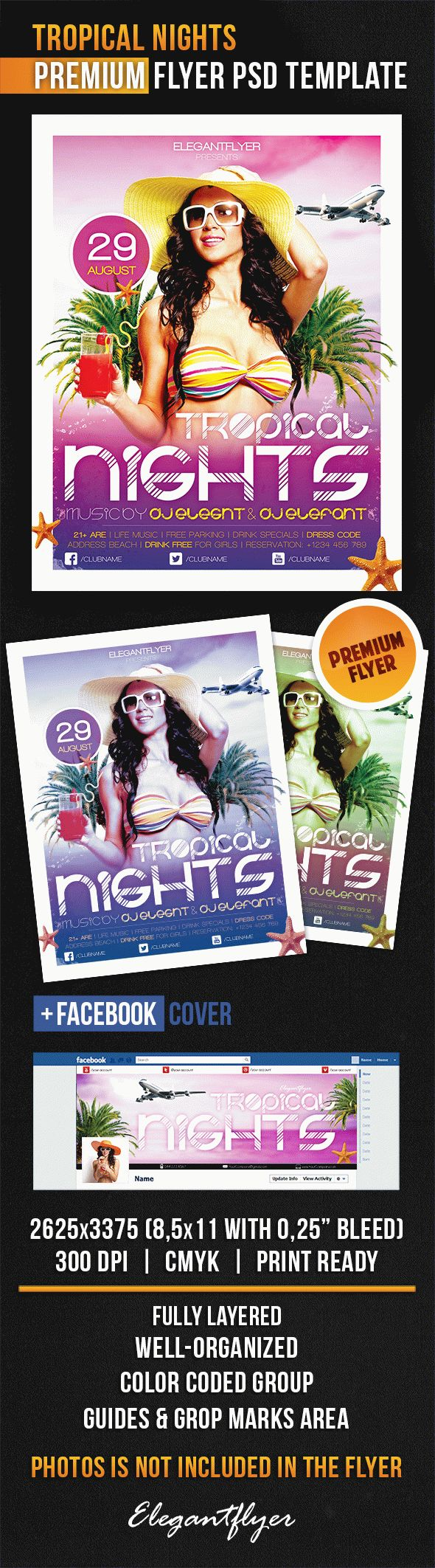 Tropical Nights – Flyer PSD Template + Facebook Cover