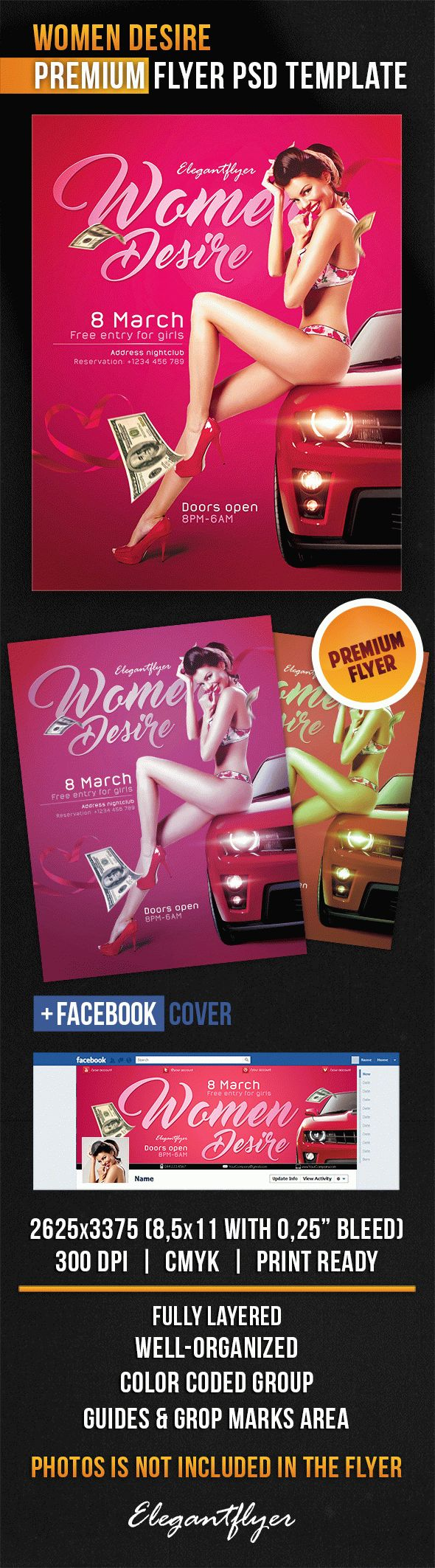 Women Desire – Flyer PSD Template + Facebook Cover