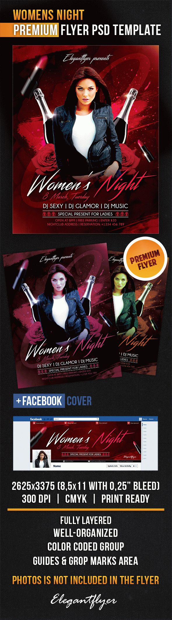 Women's Night – Flyer PSD Template + Facebook Cover