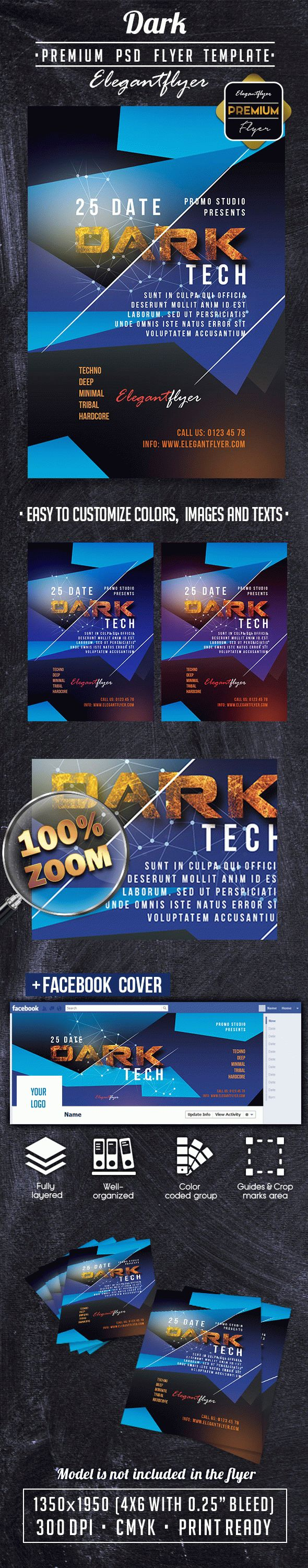 Dark PREMIUM Flyer PSD Template + Facebook Cover