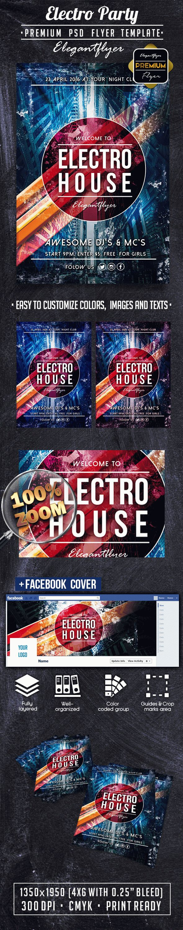 Electro Party PREMIUM Flyer PSD Template