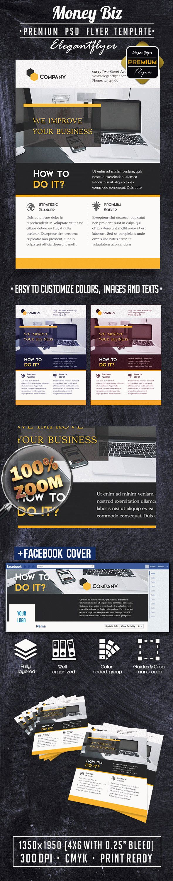 MoneyBiz PREMIUM Flyer PSD Template + Facebook Cover