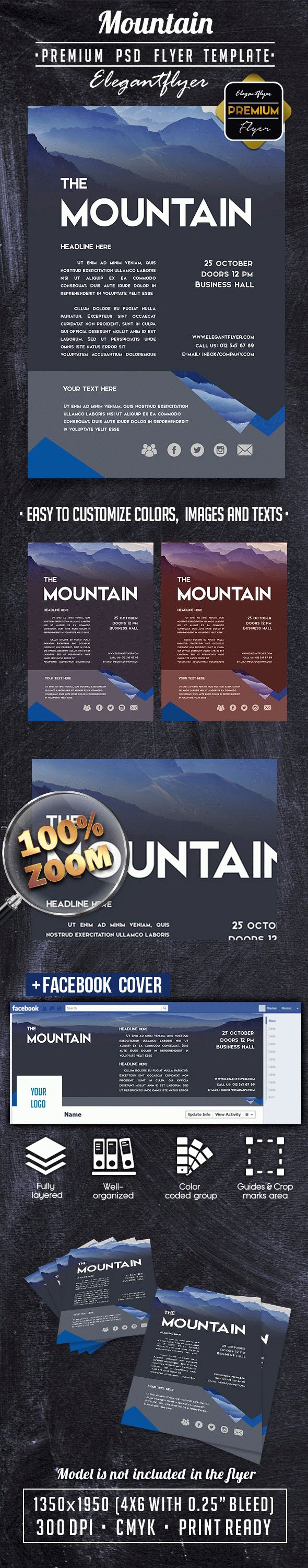 Mountain PREMIUM Flyer PSD Template + Facebook Cover