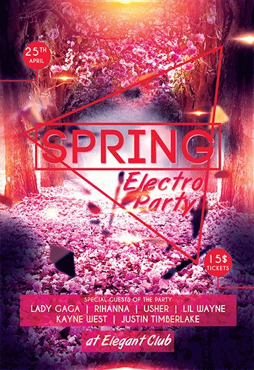 Spring Electro Party – Flyer PSD Template