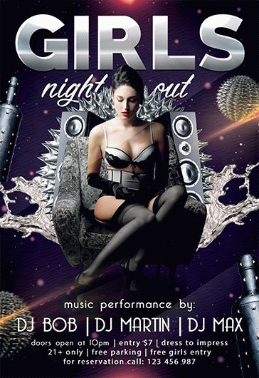 Luxurious Black Night – Free Flyer PSD Template + Facebook Cover
