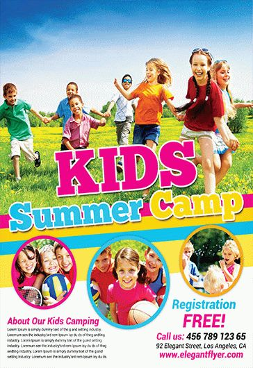 Kids Summer Camp  Flyer Psd Template  Facebook Cover  By