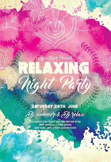 relaxing night party  u2013 flyer psd template  u2013 by elegantflyer
