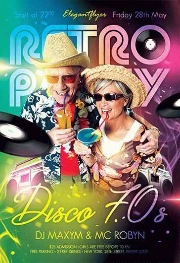Back to the 80's Party – Flyer PSD Template