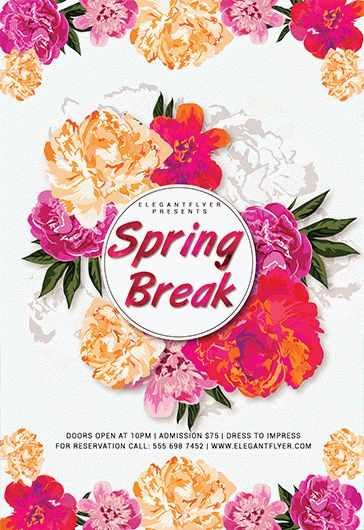 Flyer Template for Spring Break Flowers