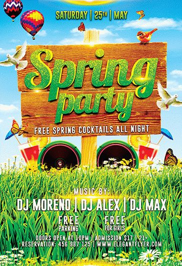 Hello Spring Party  Flyer Psd Template  Facebook Cover  By