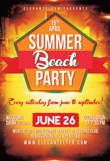 Summer Beach Party – Flyer PSD Template + Facebook Cover