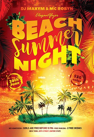 Summer Beach Night – Flyer PSD Template