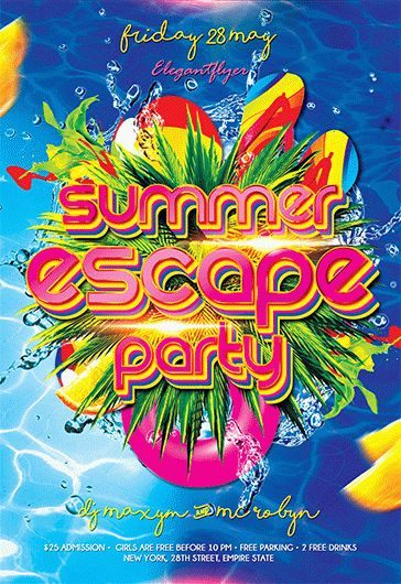 Summer Escape Party – Flyer PSD Template