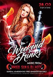 Weekend Drinks – Flyer PSD Template