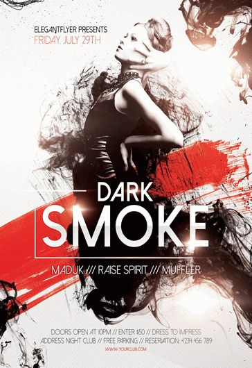 Dark Smoke – Flyer PSD Template + Facebook Cover