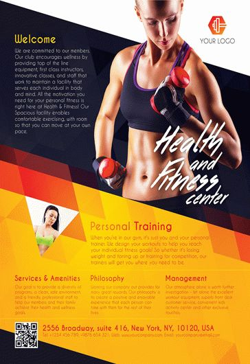 Fitness gym free flyer psd template facebook cover for Fitness brochure template
