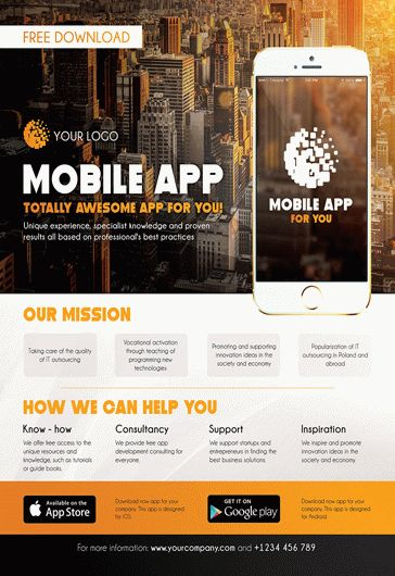 Mobile App Promotion – Flyer PSD Template