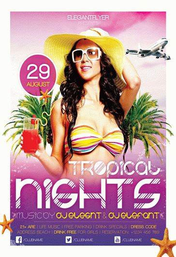 Tropical Sunset Party – Flyer PSD Template + Facebook Cover