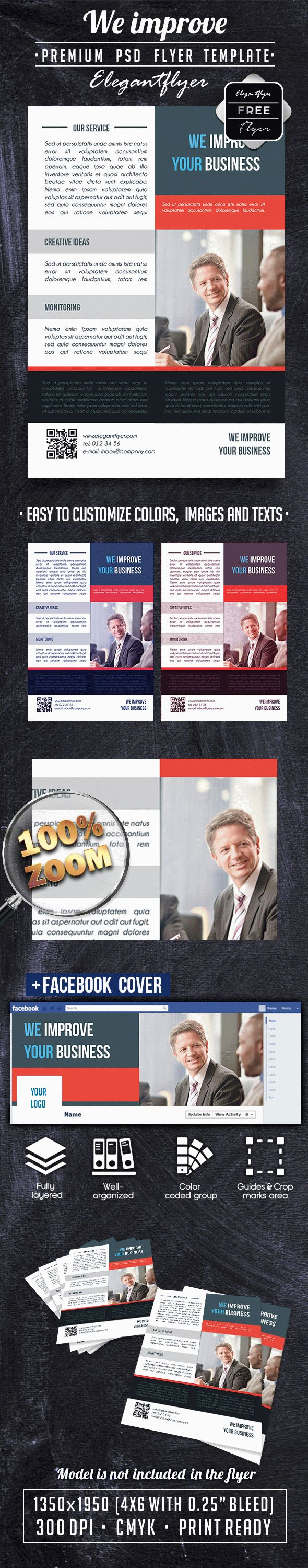 We Improve free Business Flyer PSD Template + Facebook Cover