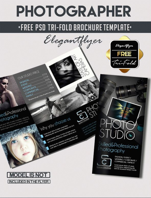 Photographer  Free TriFold Psd Brochure Template  By Elegantflyer