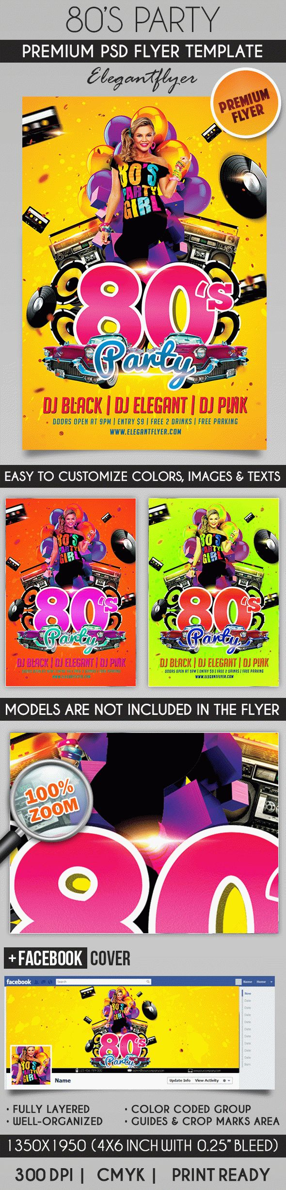 80's Party – Flyer PSD Template + Facebook Cover