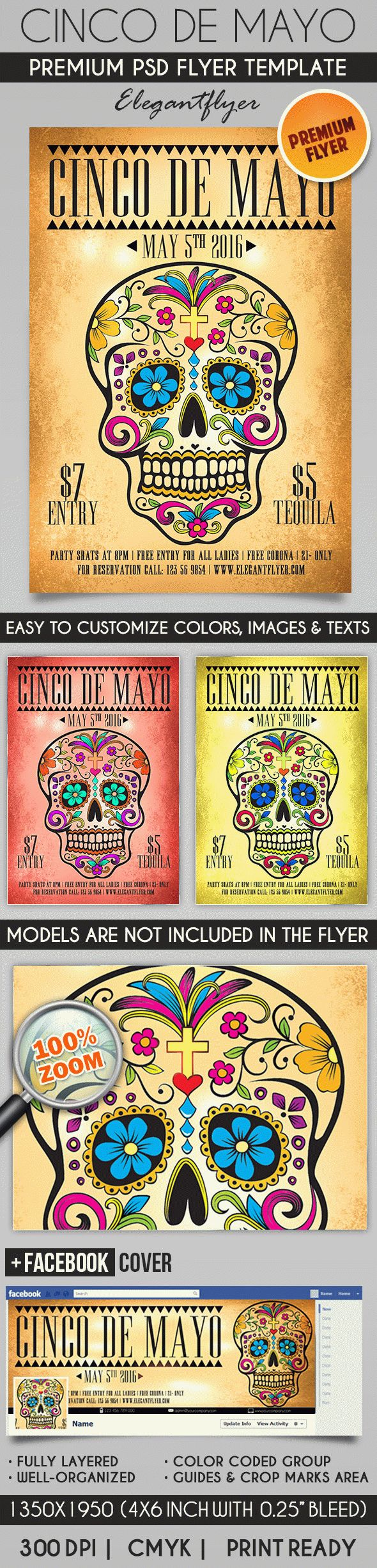 Cinco De Mayo – Flyer PSD Template + Facebook Cover