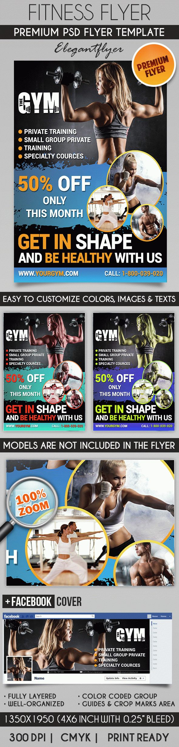 Fitness Flyer – Flyer PSD Template + Facebook Cover