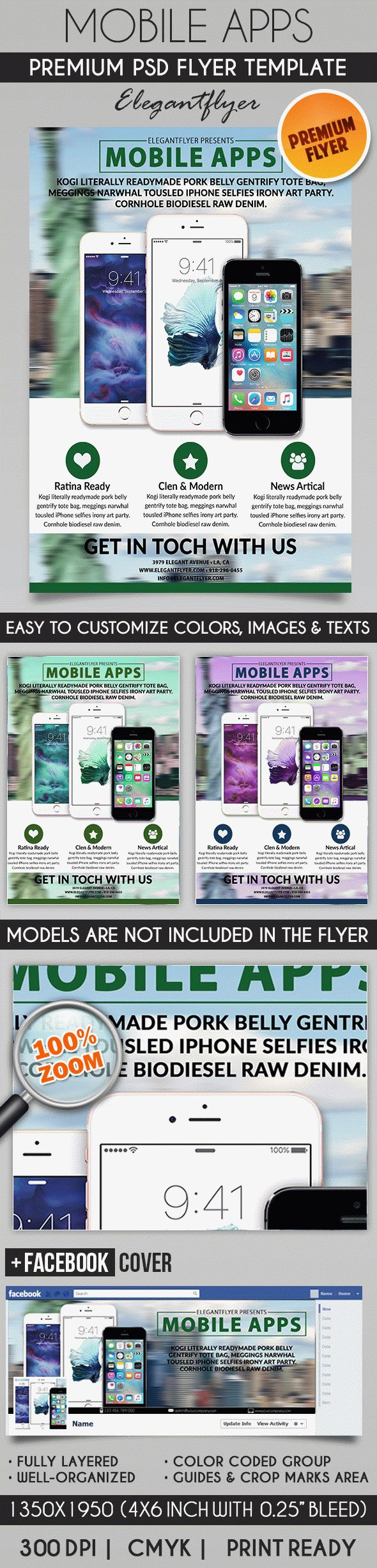 Mobile Apps Promotion – Flyer PSD Template + Facebook Cover