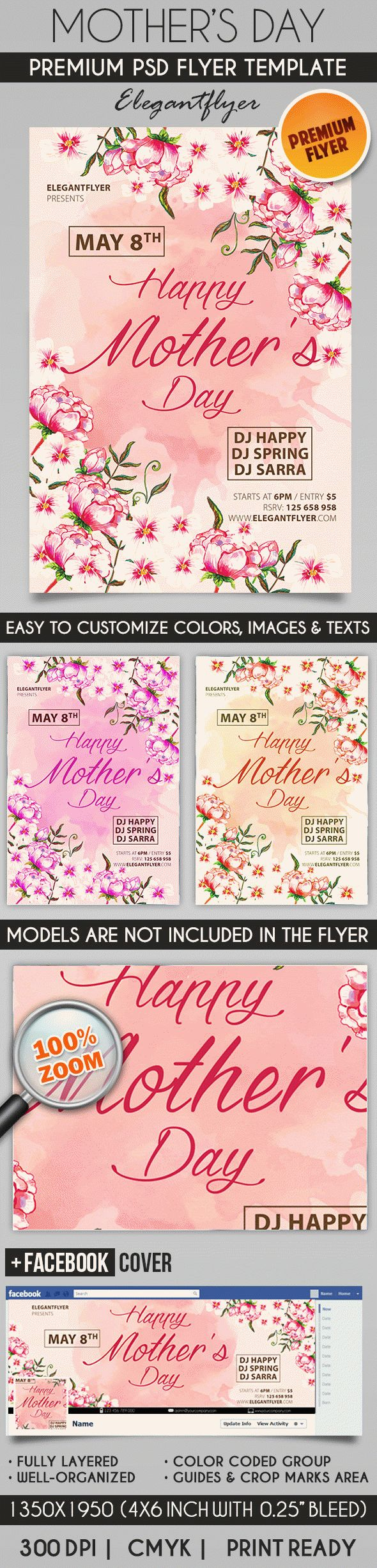 Flowers for Mothers Day PSD Poster