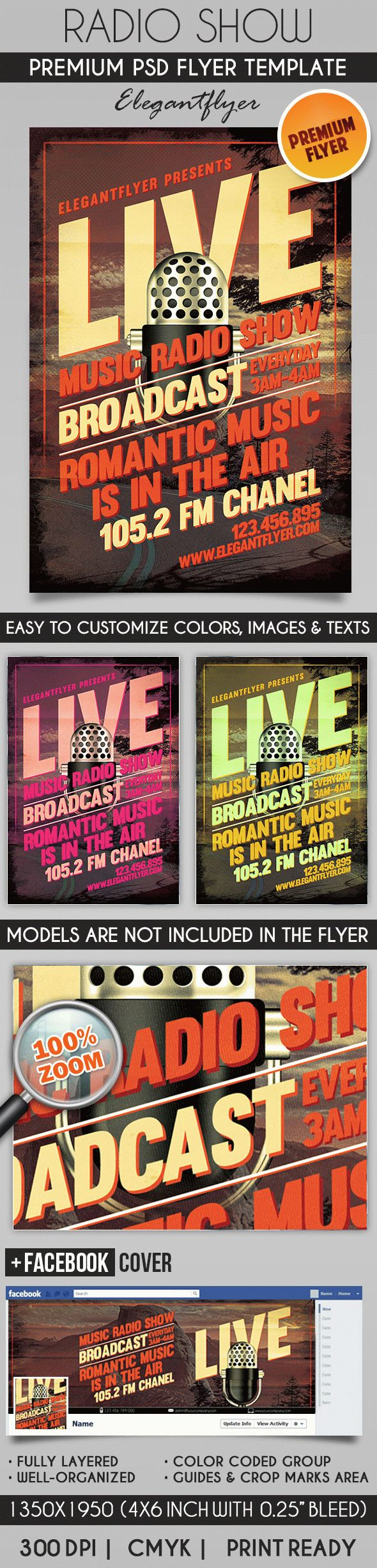 Radio Show – Flyer PSD Template + Facebook Cover