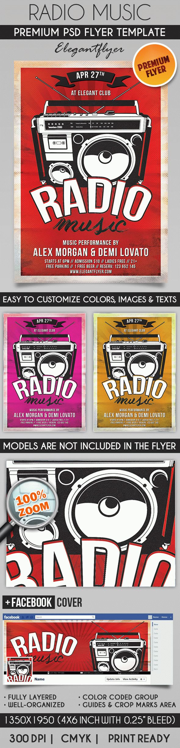 Retro Music Radio – Flyer PSD Template + Facebook Cover