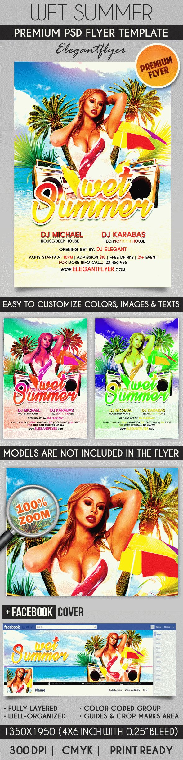 Wet Summer – Flyer PSD Template + Facebook Cover