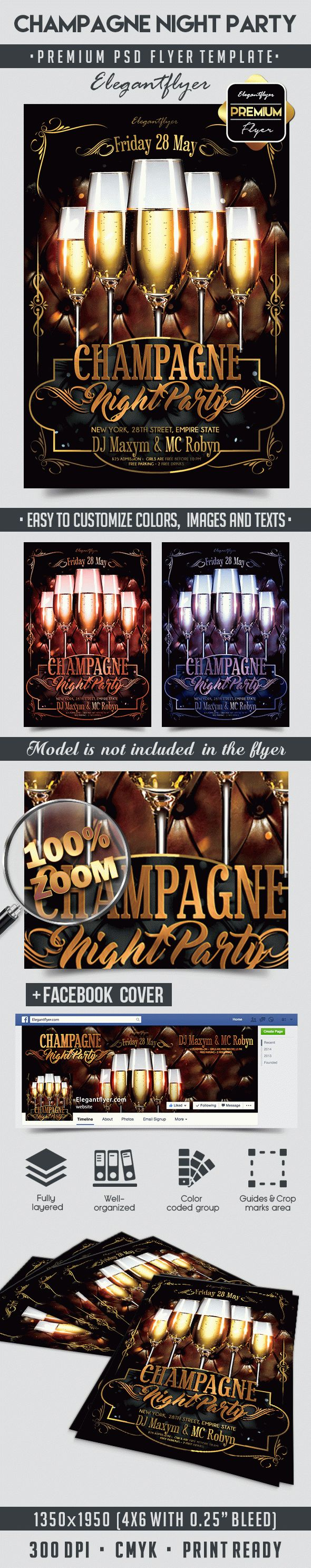 Champagne Night Party – Flyer PSD Template + Facebook Cover