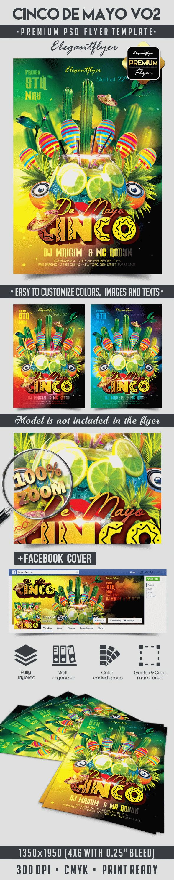 Cinco De Mayo V02 – Flyer PSD Template + Facebook Cover