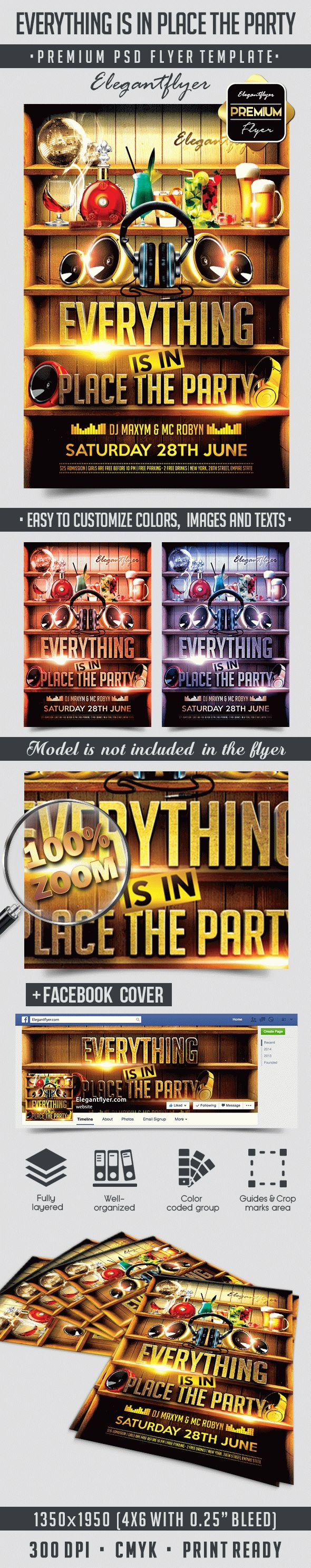 Everything is in Place the Party – Flyer PSD Template + Facebook Cover