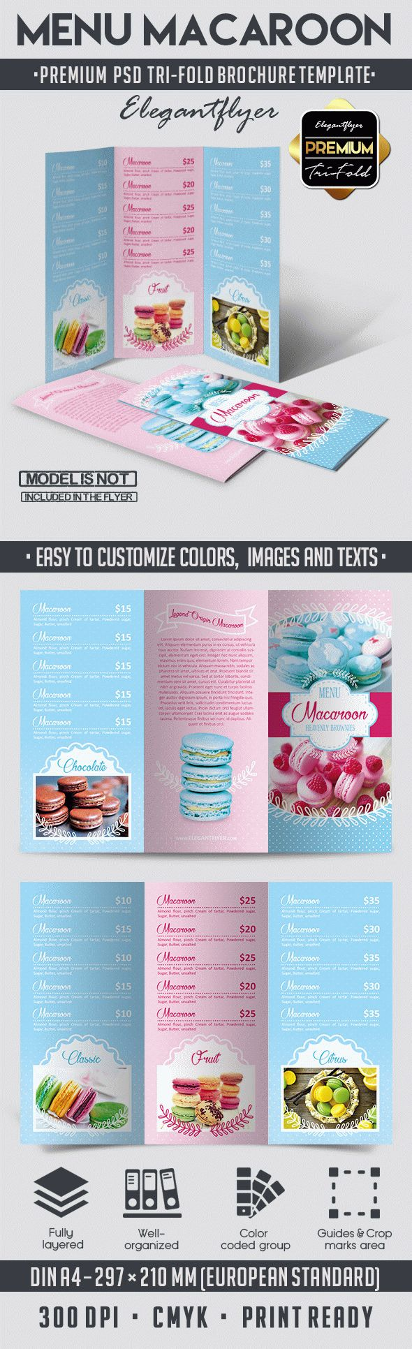 Menu macaroon tri fold brochure psd template by for French brochure template