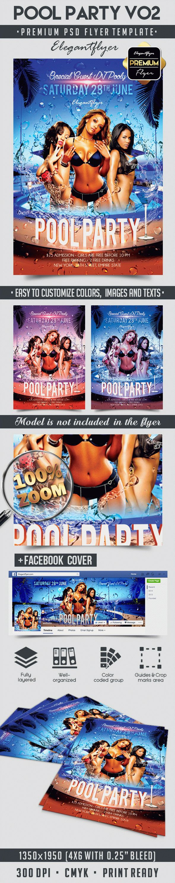 Pool Party V02 – Flyer PSD Template + Facebook Cover