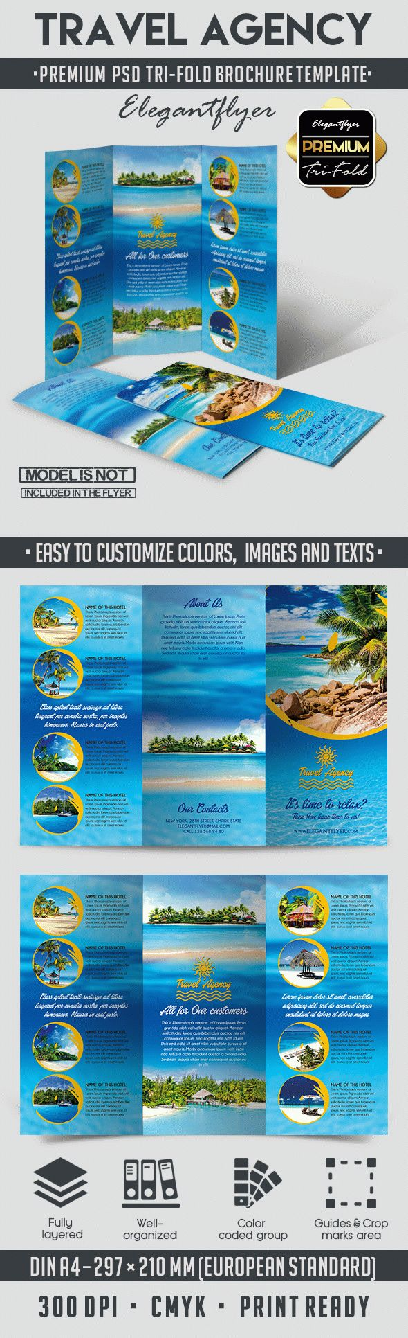 Travel Agency – Tri-Fold Brochure PSD Template